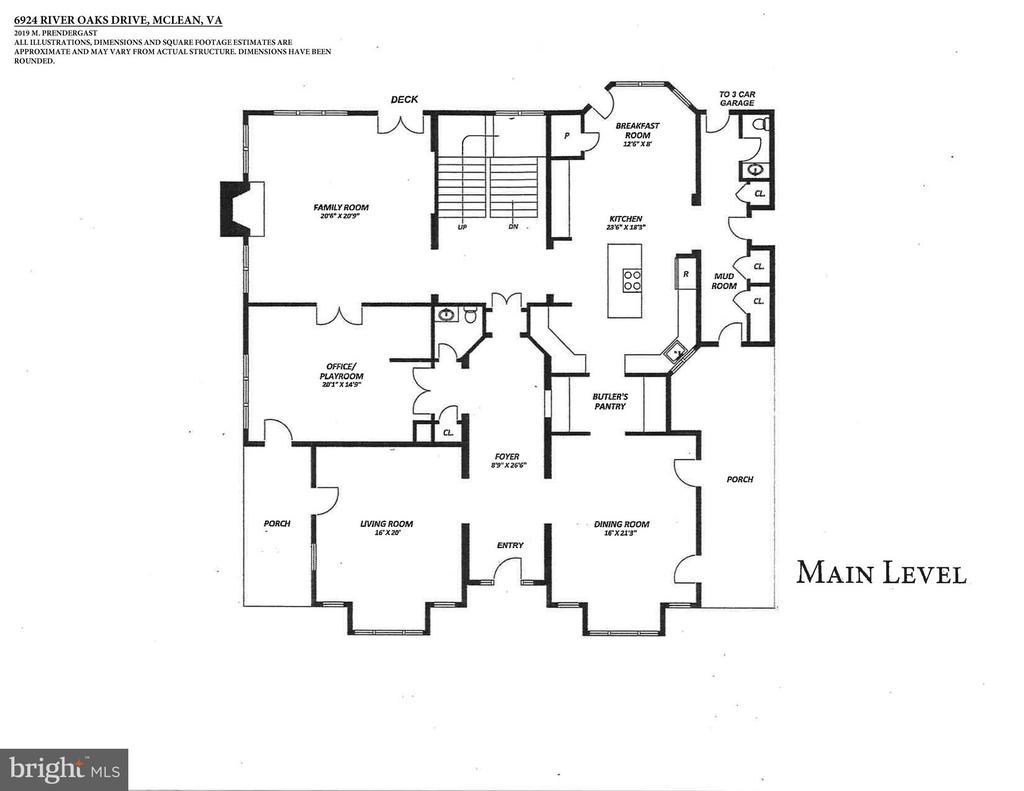 Main Level Floor Plan - 6924 RIVER OAKS DR, MCLEAN