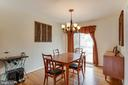 Dining room with sliding doors to deck/backyard. - 13131 BEAVER TER, ROCKVILLE