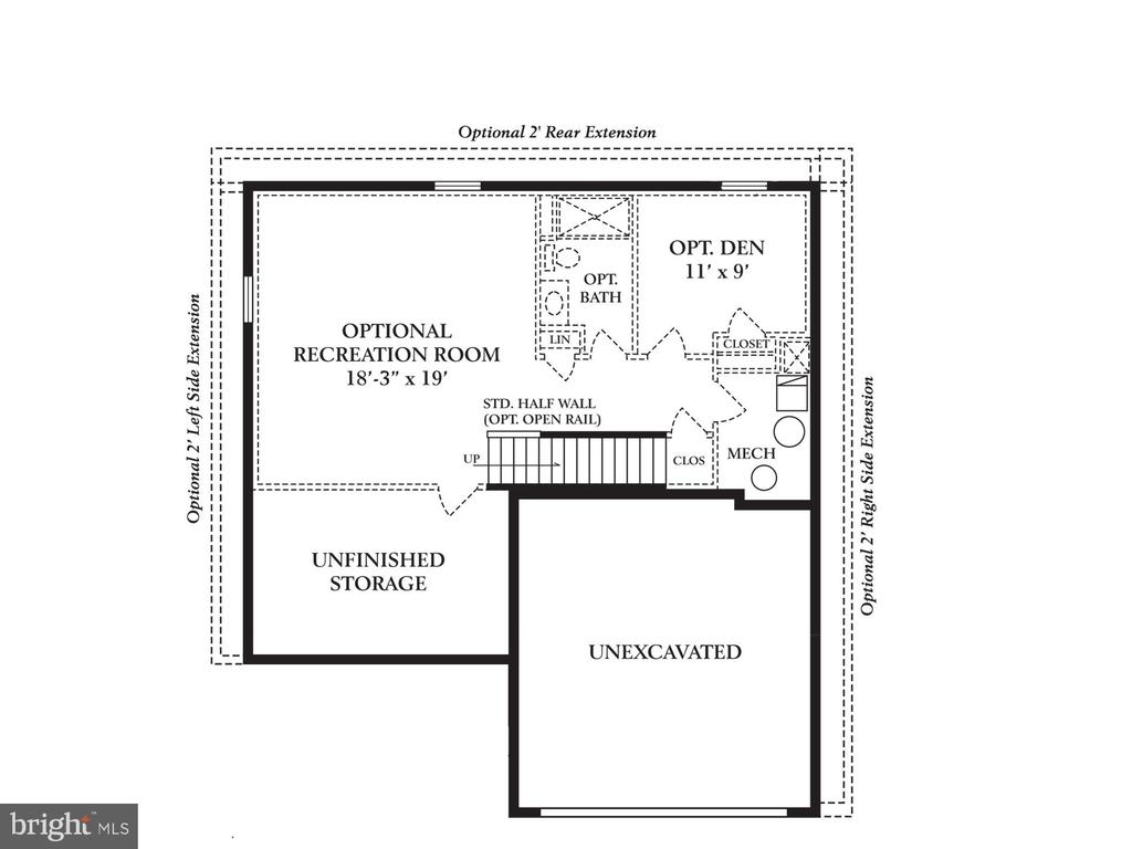 Unfinished basement with full bath rough in - 2335 SWIFTWATER DR, HANOVER