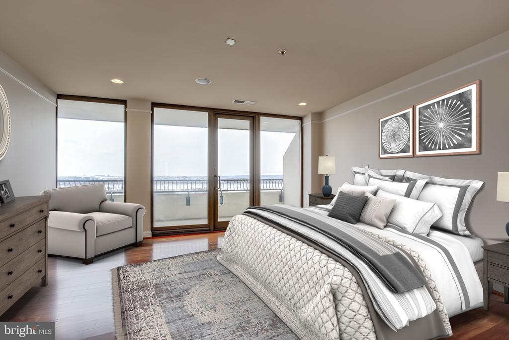 Master bedroom with balcony access - 1200 CRYSTAL DR #1712, ARLINGTON