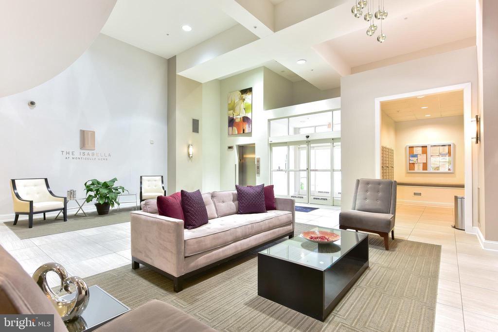 Elegant Entry Lobby with Fireplace - 6301 EDSALL RD #621, ALEXANDRIA