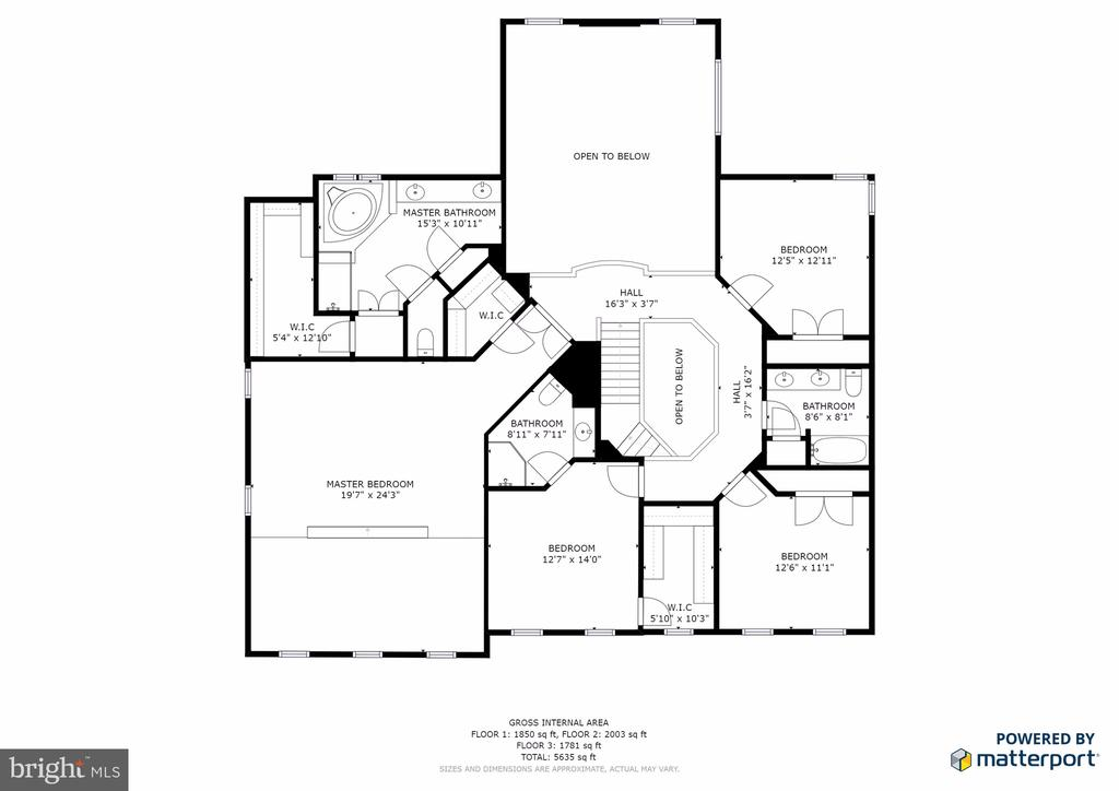 Upper Level Floor Plan - 16333 LIMESTONE CT, LEESBURG