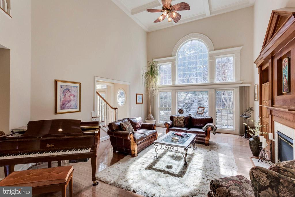 Huge 2 story family room with coffered ceiling! - 1075 CEDAR CHASE CT, HERNDON