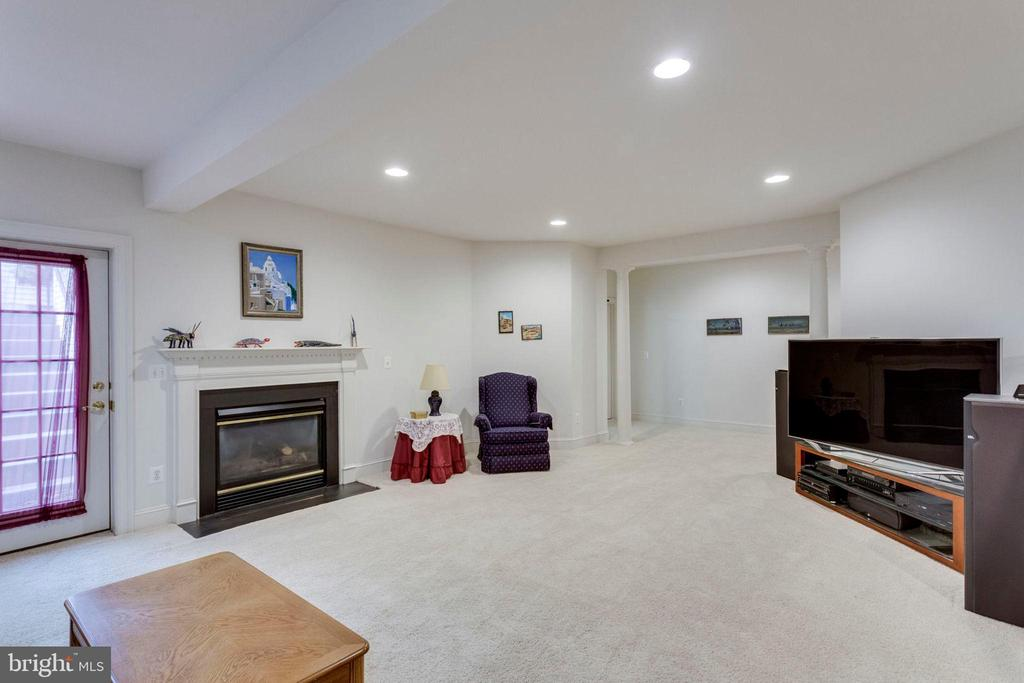 Recreation room with gas fireplace - 1075 CEDAR CHASE CT, HERNDON