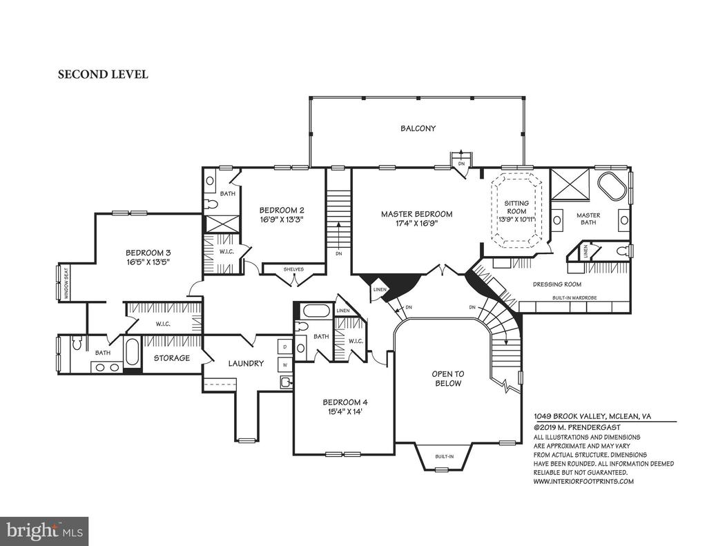 Upper Level with Balcony Off Master Suite - 1049 BROOK VALLEY LN, MCLEAN