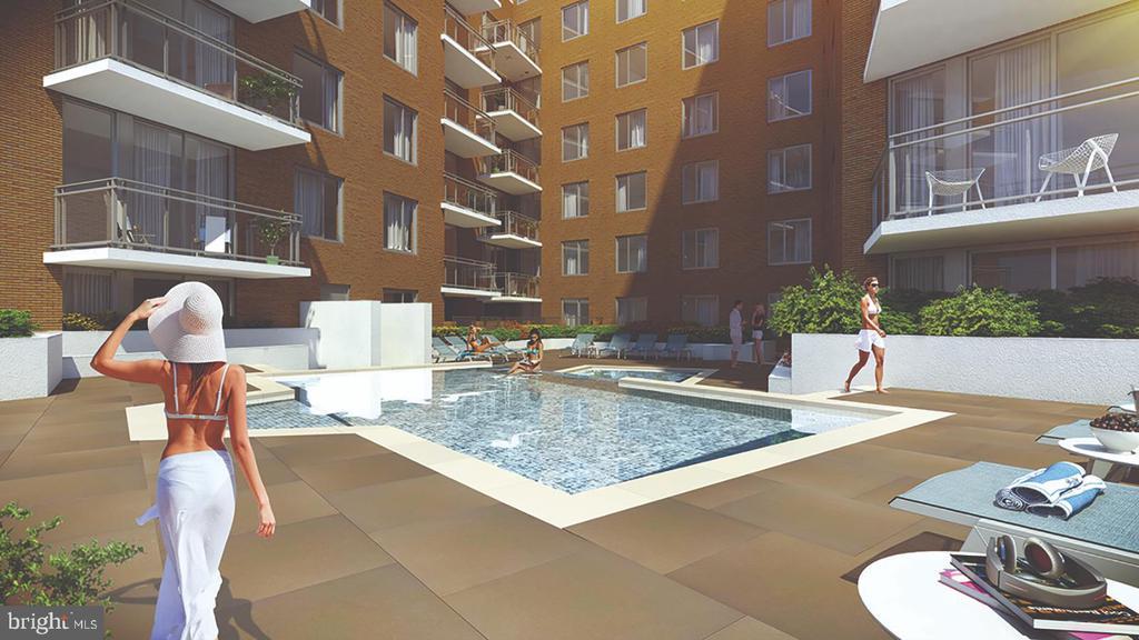 Courtyard featuring 5' Cascading Pool - 50 FLORIDA AVE NE #224, WASHINGTON