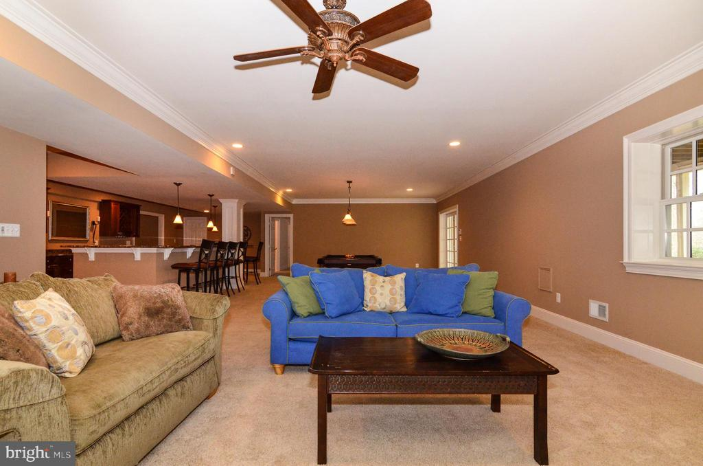 Cozy seating area with fireplace in rec room - 12794 YATES FORD ROAD, CLIFTON