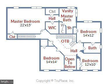 Bedroom Level Floor Plan - 43268 HILL HEAD PL, LEESBURG