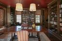 Library with Custom Paneling and Bookshelves - 203 CARRWOOD RD, GREAT FALLS