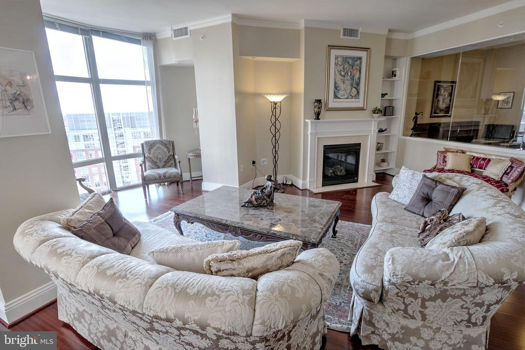 Living Room With Gas Fireplace - 11990 MARKET ST #1811, RESTON