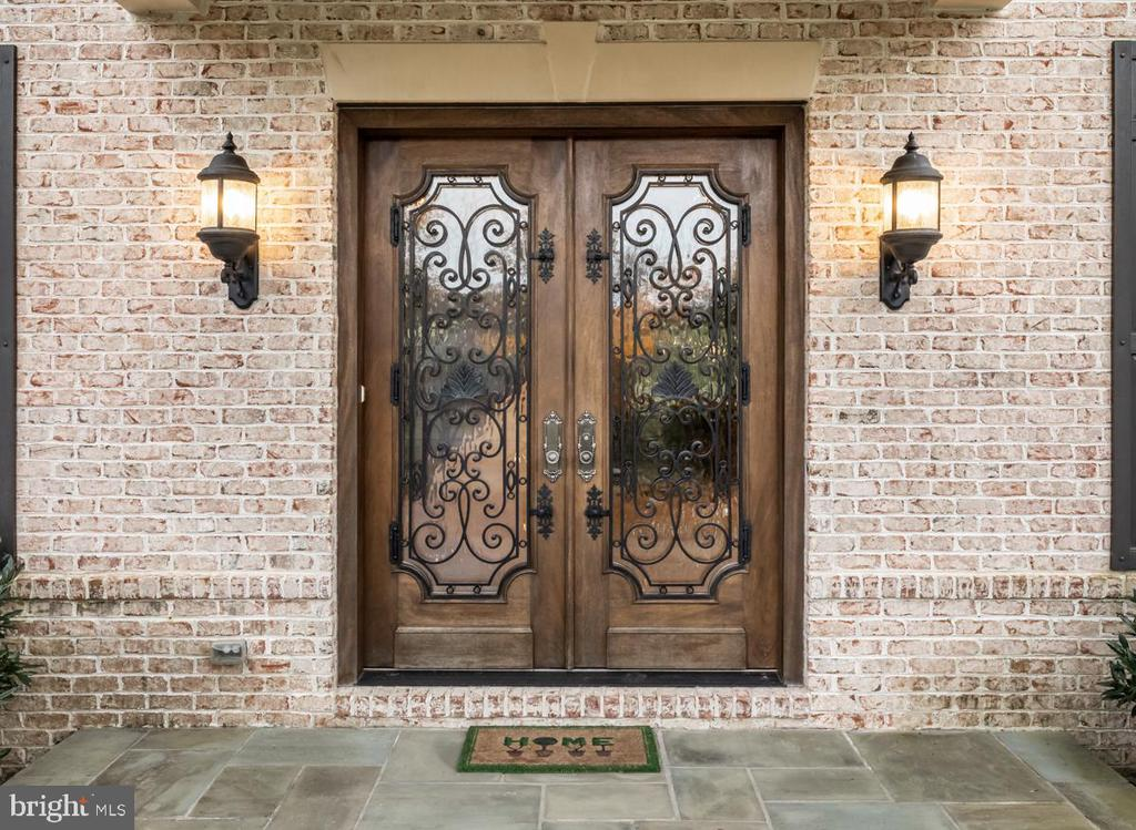 Entry w/oversized Doors w/Glass & Wrought Iron - 9801 BEACH MILL RD, GREAT FALLS