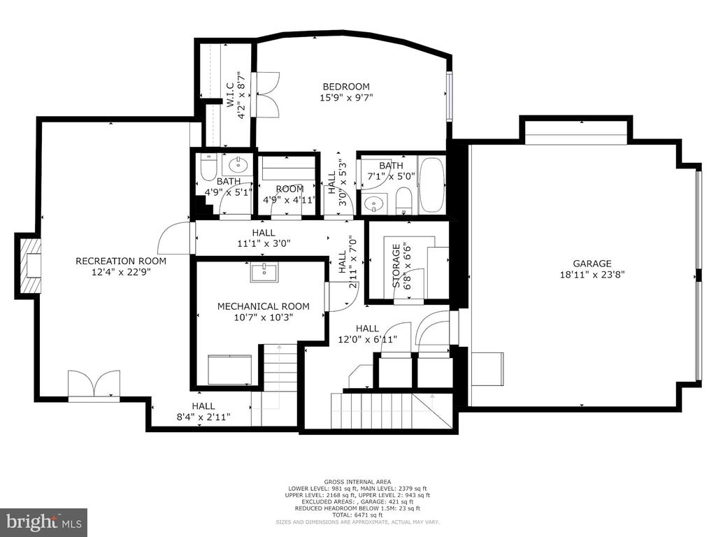 Basement Floorplan - 6008 KENNEDY DR, CHEVY CHASE