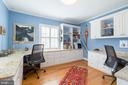 Home office with two custom desks. Views of park. - 6008 KENNEDY DR, CHEVY CHASE