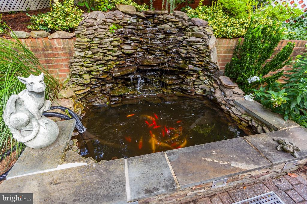 Backyard complete with stone koi pond - 6008 KENNEDY DR, CHEVY CHASE