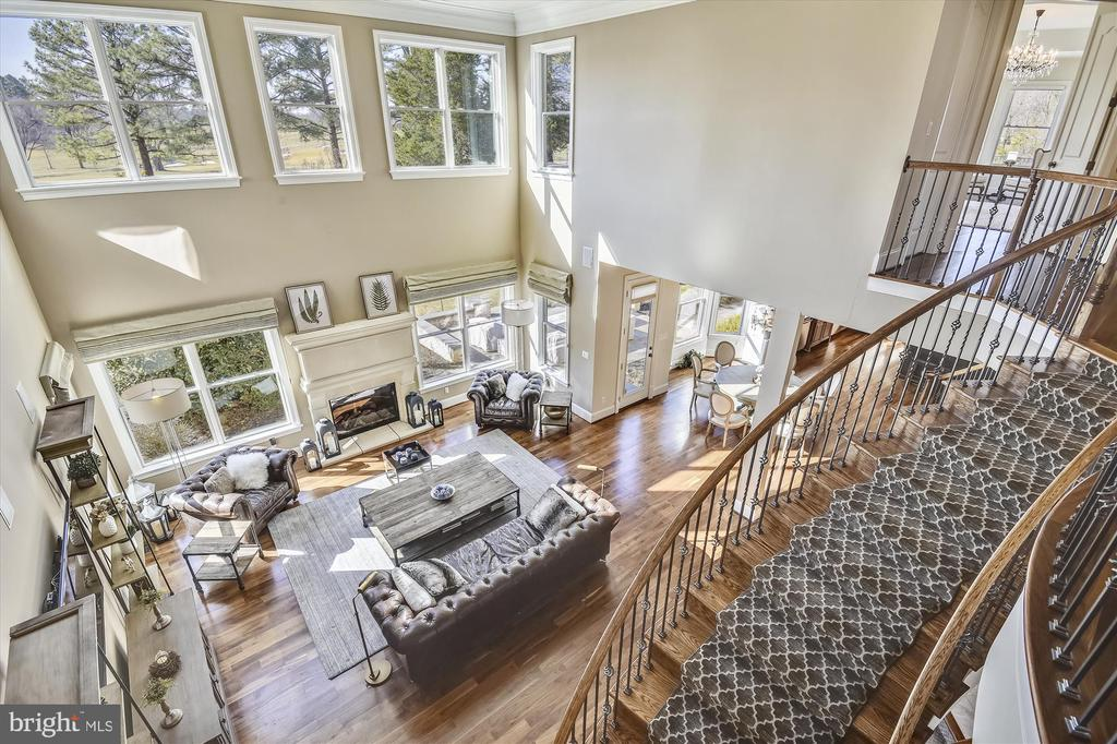 View of the family room from upper level - 9801 BEACH MILL RD, GREAT FALLS