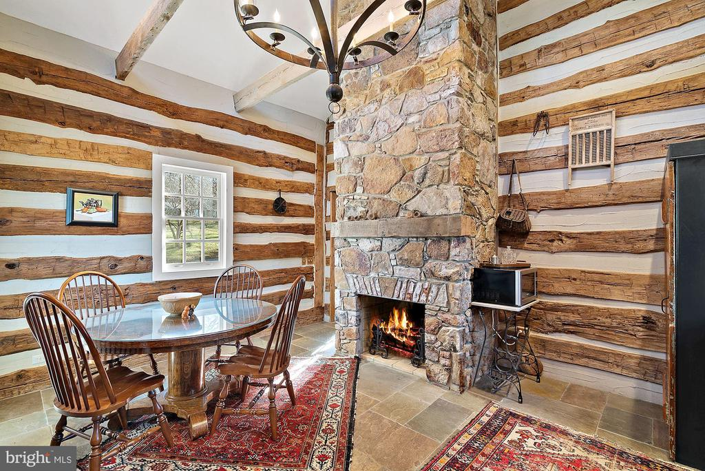 Gorgeous stone fireplace in Log House - 43470 EVANS POND RD, LEESBURG