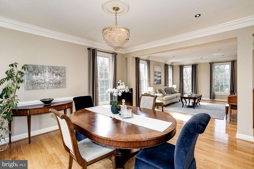 Dining room w/ view of living room beyond - 1309 SHAKER WOODS RD, HERNDON
