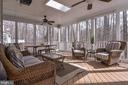 Screened porch off kitchen overlooking trails - 718 TURTLE POND LN, GAITHERSBURG