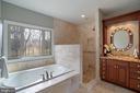 Luxurious master bath, Roman shower, soaking tub - 20440 SWAN CREEK CT, STERLING