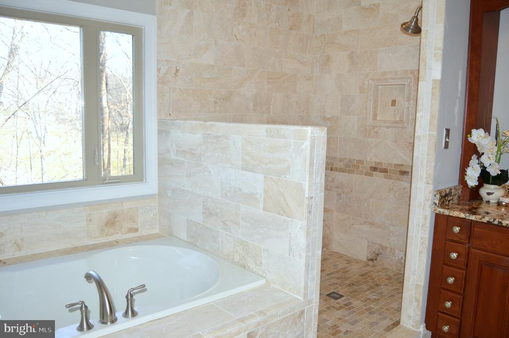 Roman shower with beautiful tile, shower seat - 20440 SWAN CREEK CT, STERLING