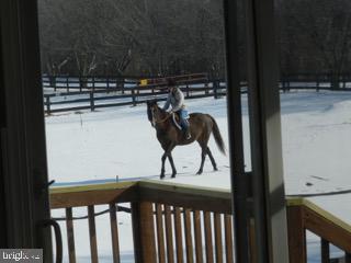 Equestrians riding in adjacent yard - 918 WADESVILLE RD, BERRYVILLE