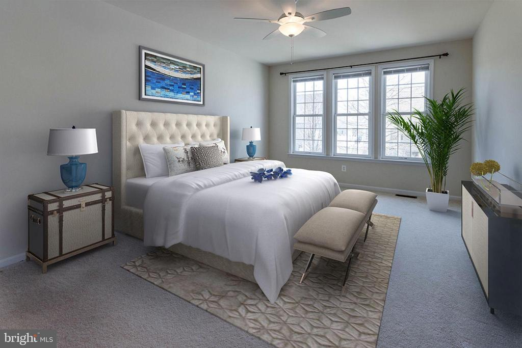 Virtually staged master bedroom - 6136 FERRIER CT, GAINESVILLE