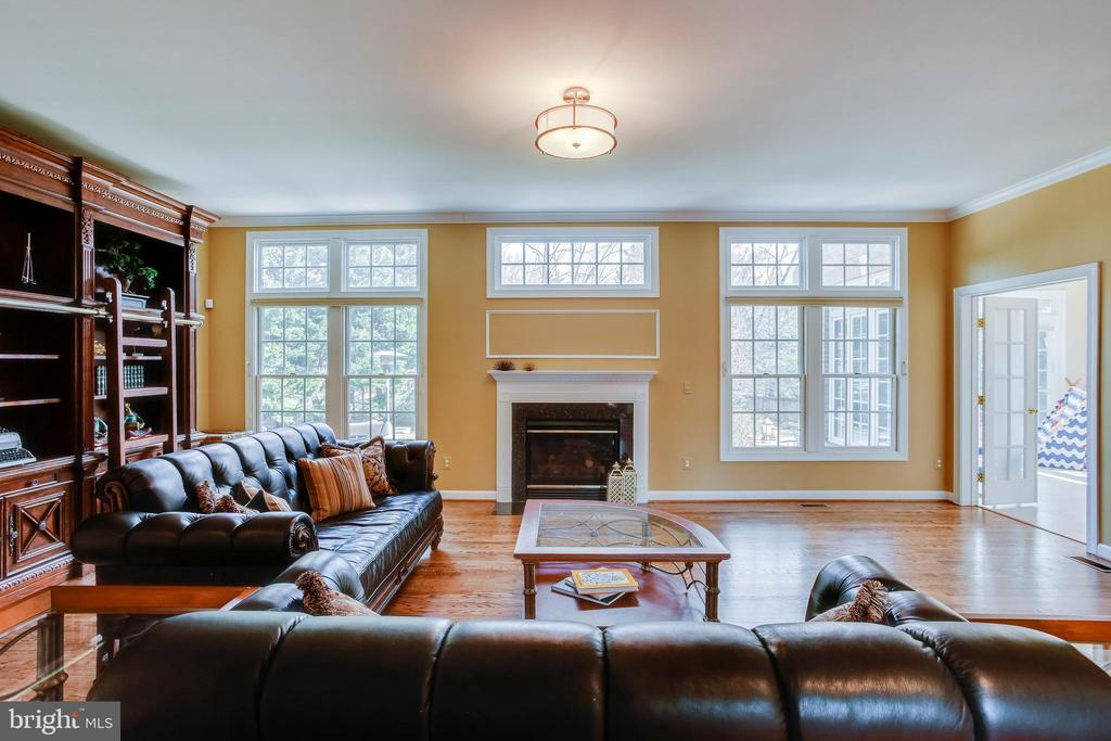 Family room features fireplace and lots of light - 11580 CEDAR CHASE RD, HERNDON