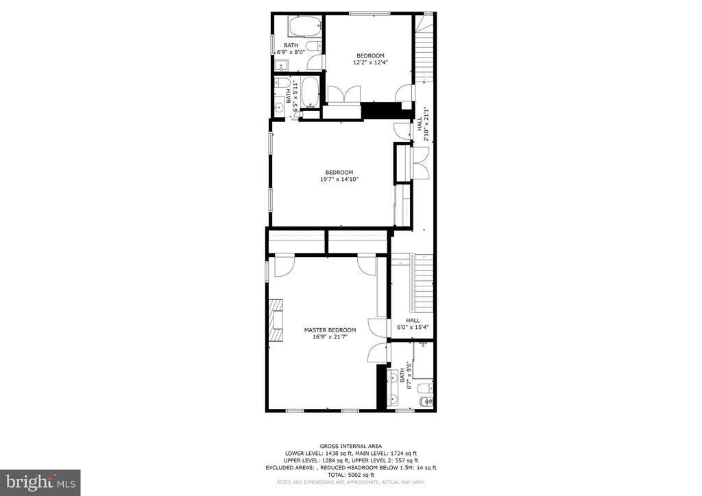 Upper Level Floorplan - 1408 35TH ST NW, WASHINGTON