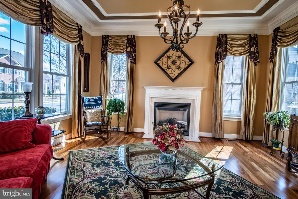 Living room with gas fireplace. - 21883 KNOB HILL PL, ASHBURN