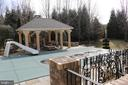 Private backyard with pool, cabana with fireplace - 529 SPRINGVALE RD, GREAT FALLS