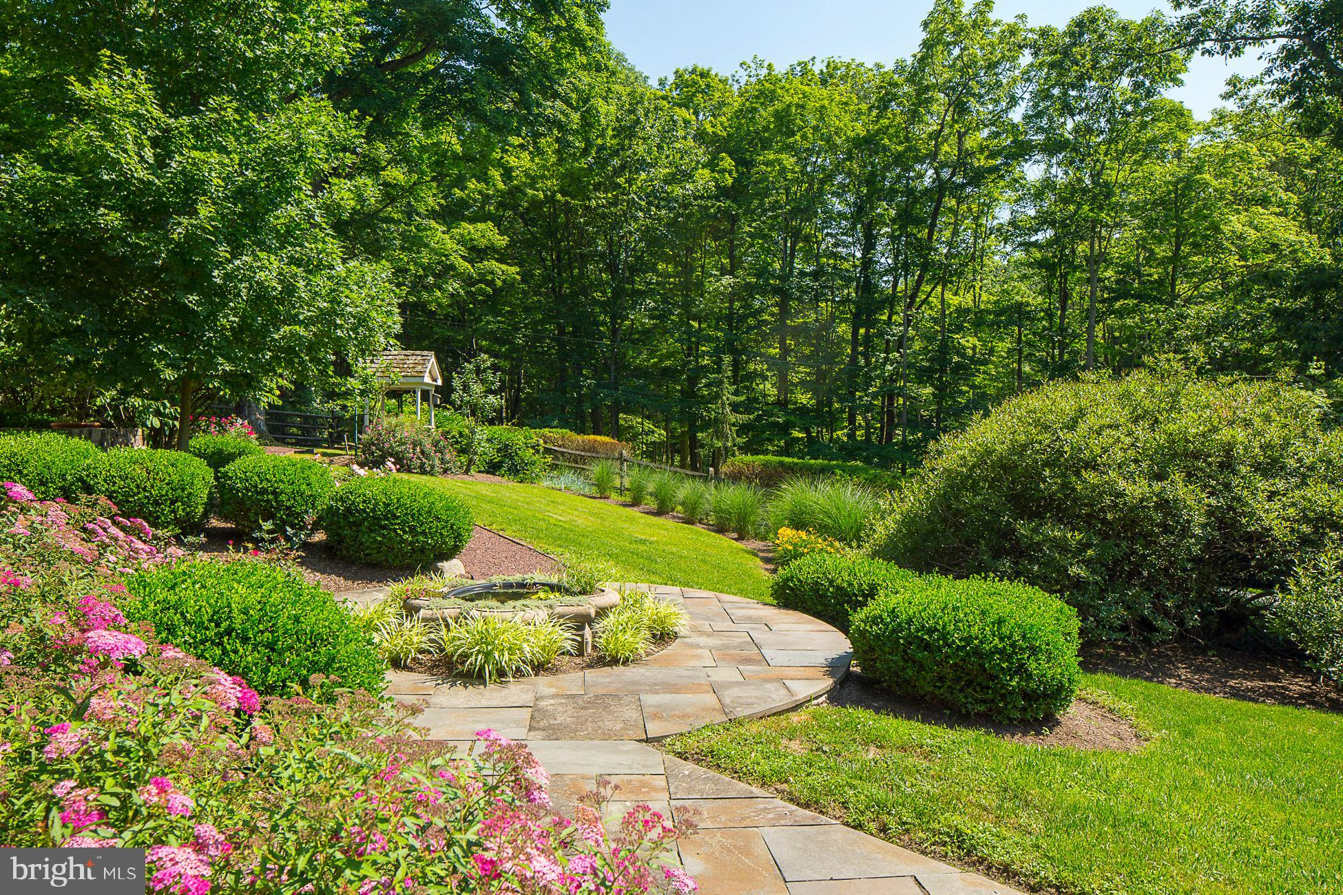 Beautiful gardens of established perennials.