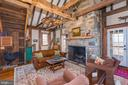 Stone fireplace w stunning beams - 43 GRUNKLE LN, FLINT HILL
