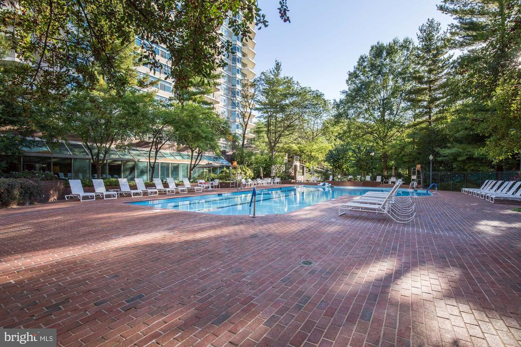 Brick deck and landscaped setting - 5630 WISCONSIN AVE #807, CHEVY CHASE