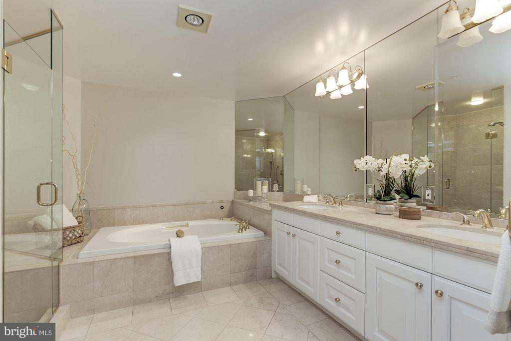 Dual sink vanity with stone countertops - 5630 WISCONSIN AVE #807, CHEVY CHASE