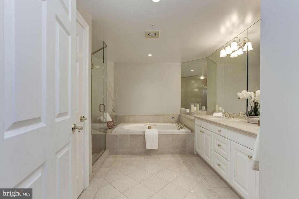 Spa-like Master Bath with marble floors! - 5630 WISCONSIN AVE #807, CHEVY CHASE