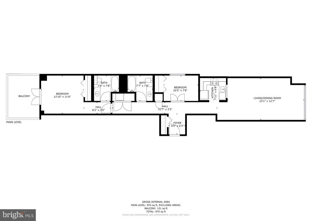 Floor Plan - 970 sqft + 121 sqft patio - 1150 K ST NW #309, WASHINGTON