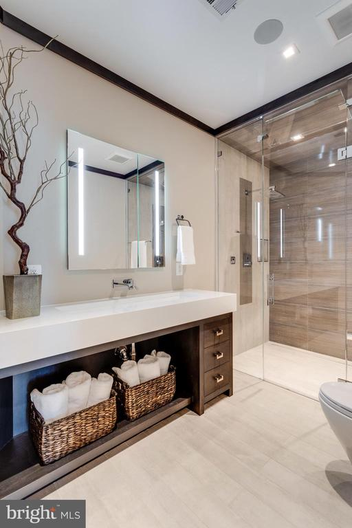 Mstr bath 2 has trough sink & steam shower - 7301 DULANY DR, MCLEAN