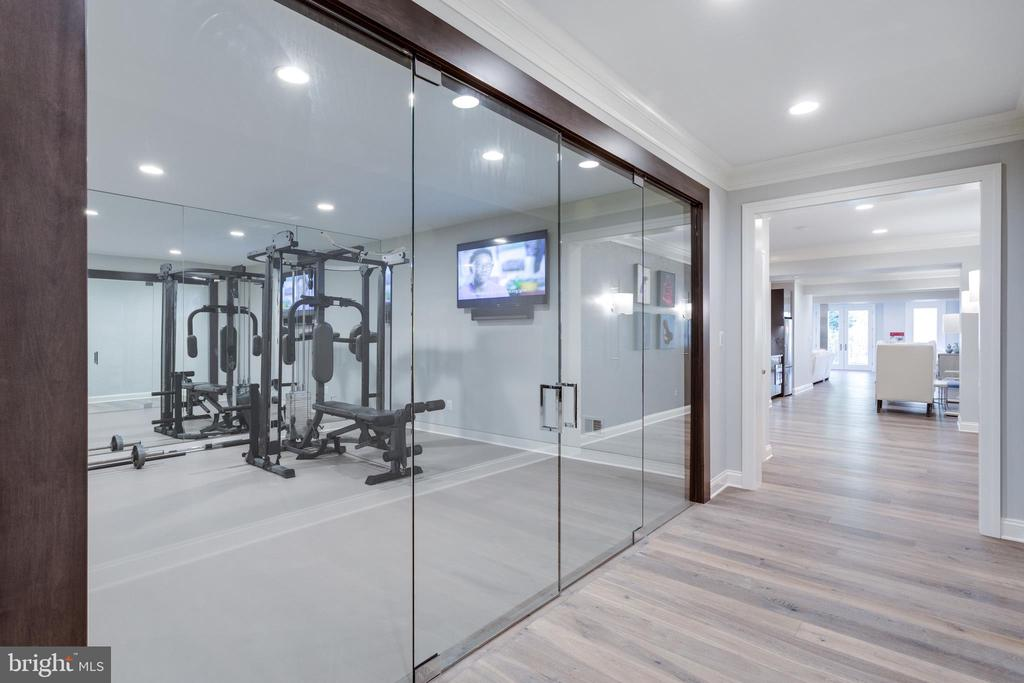 Commercial glass doors lead to amazing gym - 7301 DULANY DR, MCLEAN