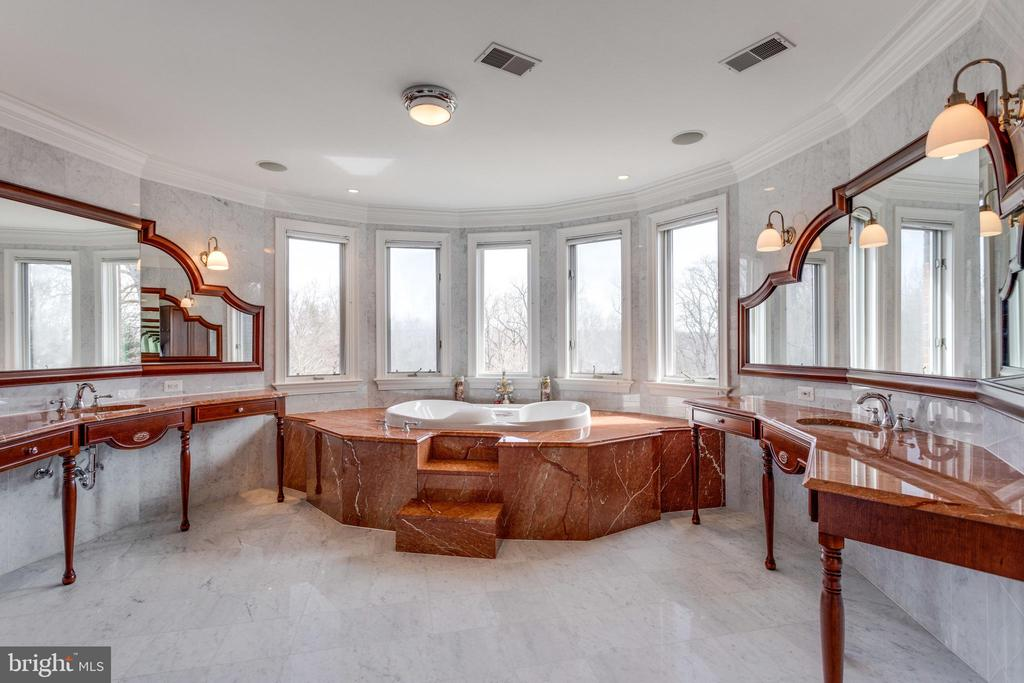 Marble Owner's Bath with serene windowed alcove - 9179 OLD DOMINION, MCLEAN