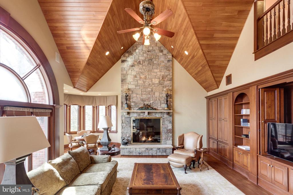 Majestic Family Room w/ 2 story stone fireplace - 9179 OLD DOMINION, MCLEAN