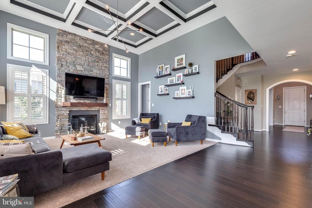 Spacious Family Room with Coffered Ceilings - 42231 AMBER MEADOWS LN, BRAMBLETON