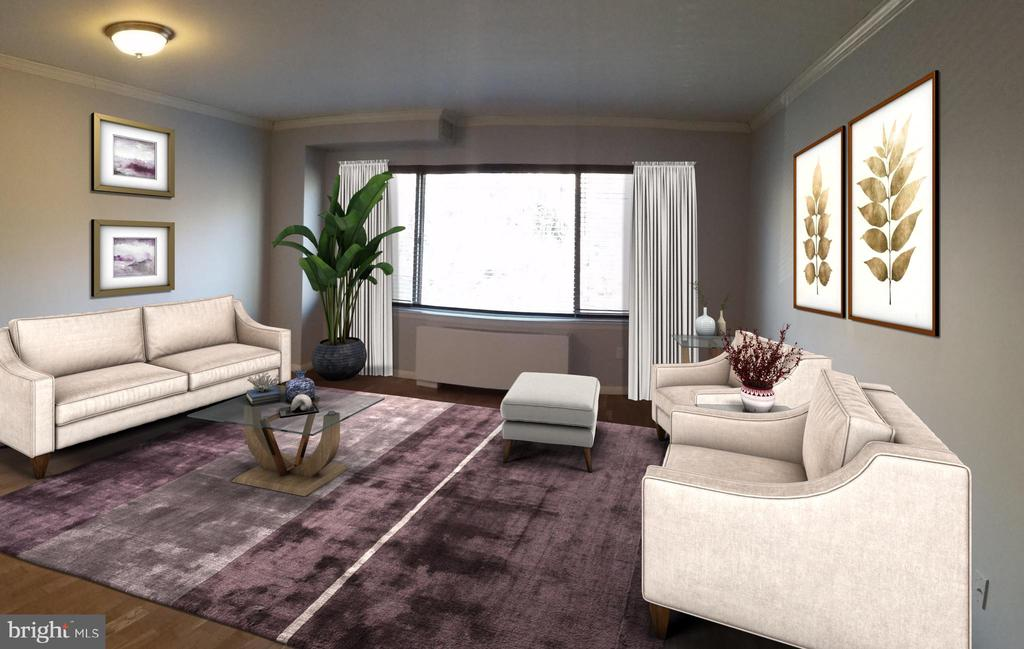 Living Room Virtual Staged Photo - 2755 ORDWAY ST NW #207, WASHINGTON