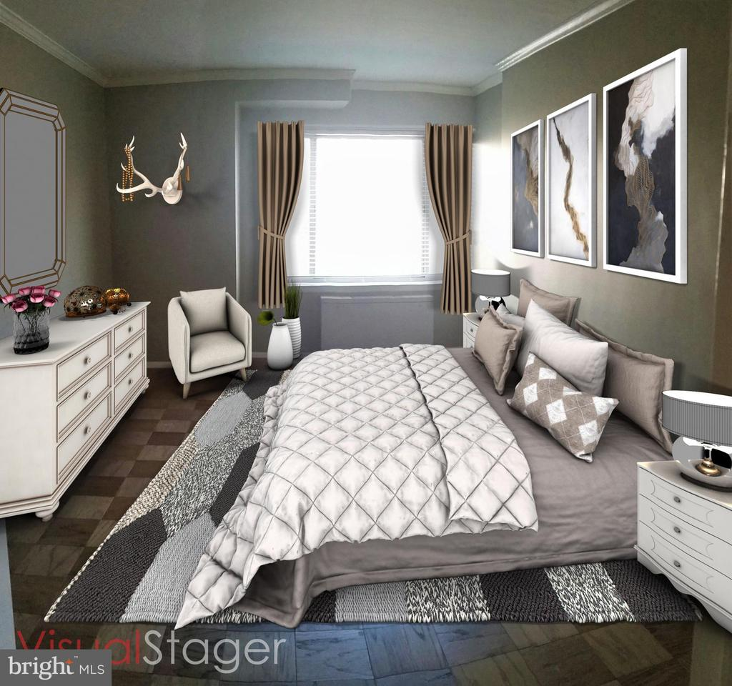 Bedroom Virtual Staged Photo - 2755 ORDWAY ST NW #207, WASHINGTON