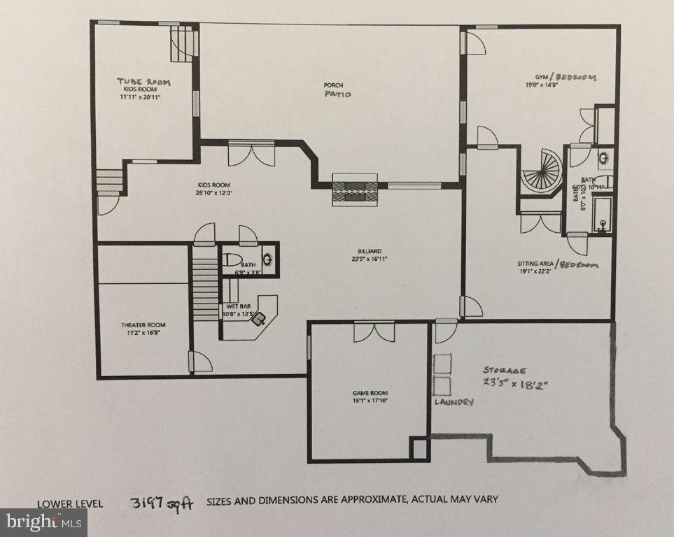 Main house lower level floor plan - 6910 SCENIC POINTE PL, MANASSAS