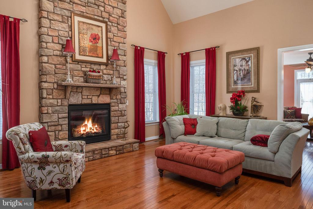 Two story floor to ceiling stone gas fireplace. - 3 GRISTMILL DR, STAFFORD
