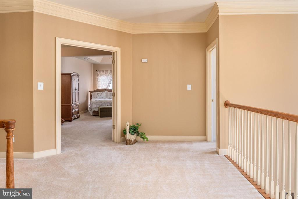 Open hallway with balconies on each side. - 3 GRISTMILL DR, STAFFORD