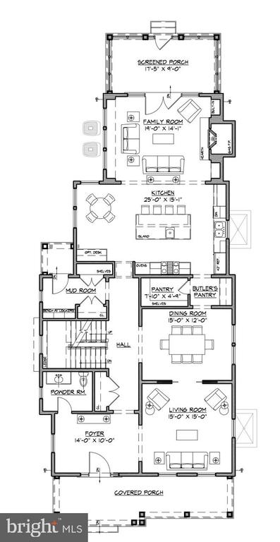 Mail level floor plan - 3709 THORNAPPLE ST, CHEVY CHASE