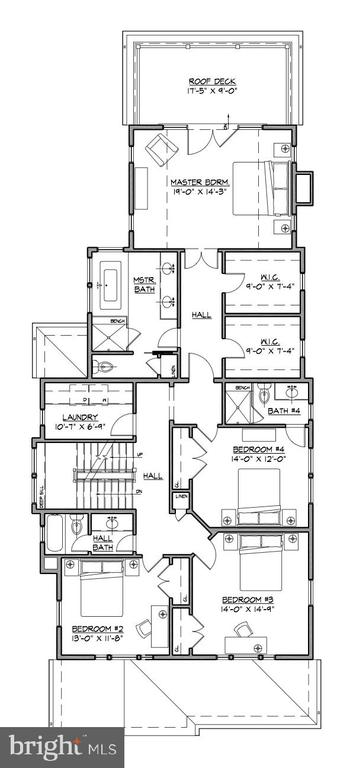 Second level floor plan - 3709 THORNAPPLE ST, CHEVY CHASE