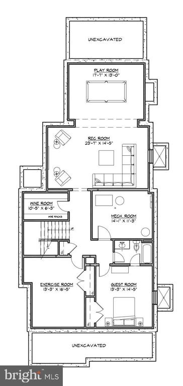 Lower level floor plan - 3709 THORNAPPLE ST, CHEVY CHASE