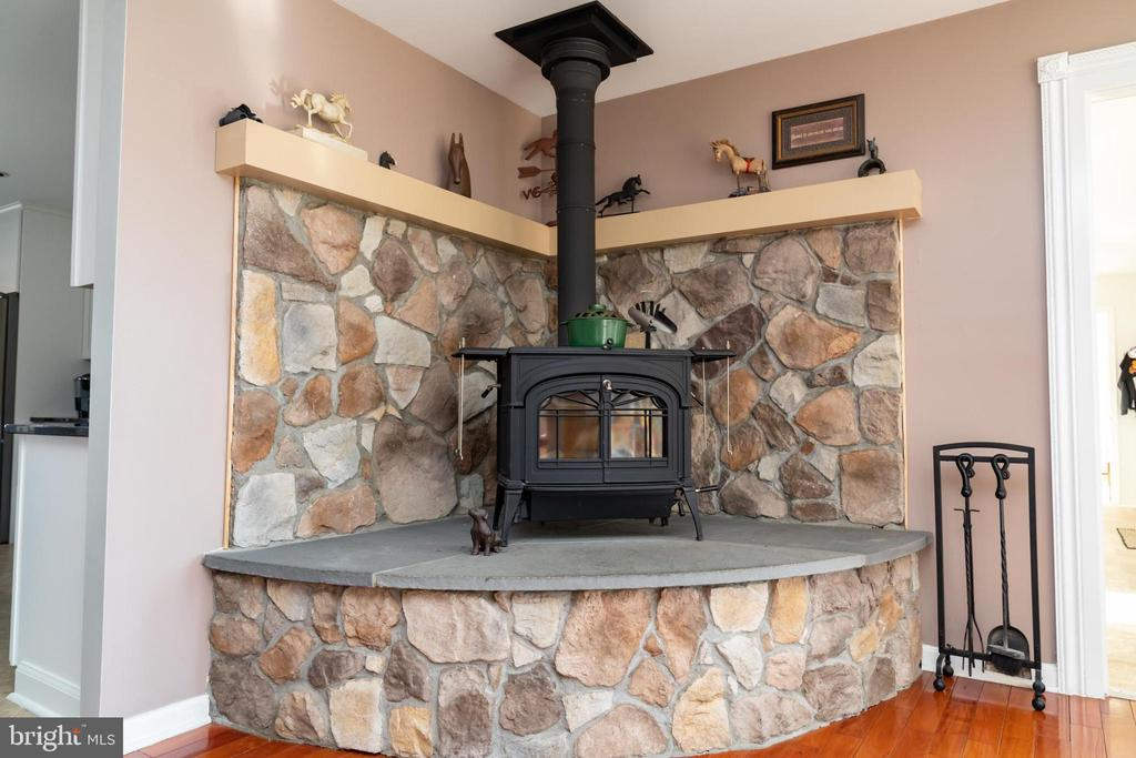 Stone Hearth with Wood Burning Stove - 7960 TALBOT RUN RD, MOUNT AIRY
